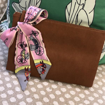 Pink Bicycle Twilly Neck/ Purse Scarf