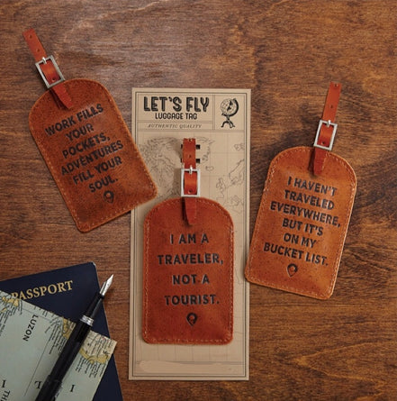 Leather Saying Luggage Tag