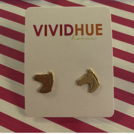 Horse Stud Earrings Gold-Plated Brass