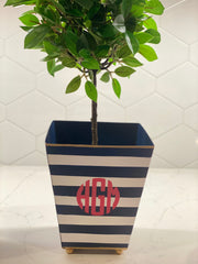 "Navy Stripe 6"" Square Cachepot"