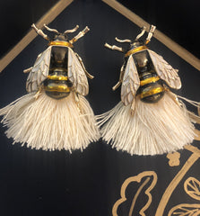Bee Earrings In Ivory