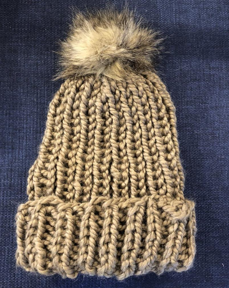 Fold-over Snowboarder Hat with Faux Fur Pom (Taupe)