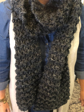 Oversized Chunky Scarf (Charcoal Grey)