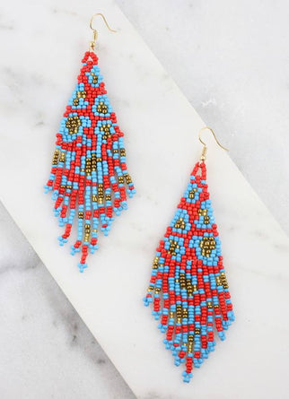 Ellie Leopard Fringe Fish Hook Earring