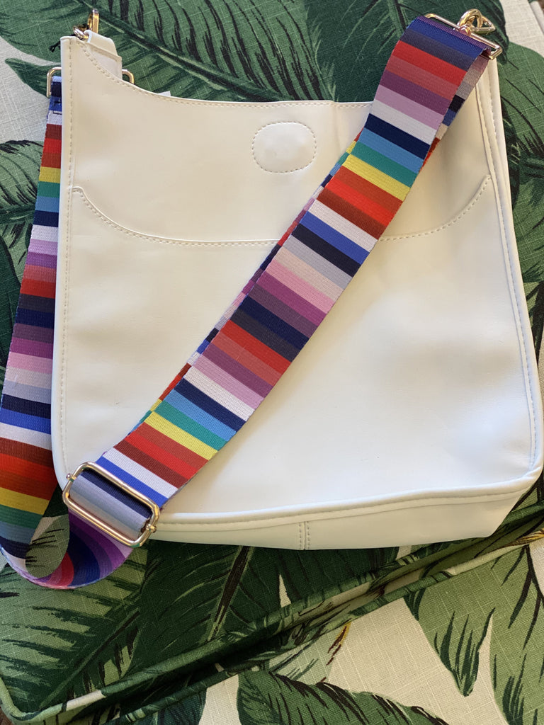 White Messenger Bag with Rainbow Stripe Strap