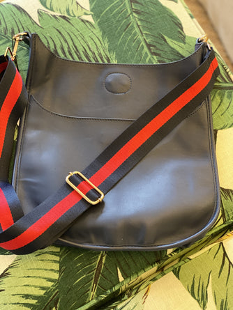 Navy Messenger Bag with Red Nav Stripe Strap