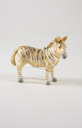 Fantastical Zebra Ornament Gold White
