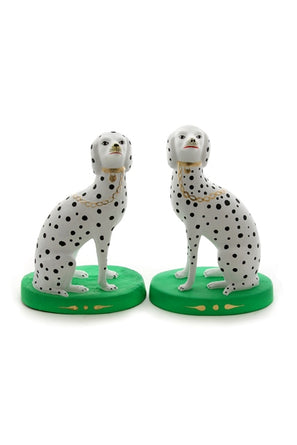 "Spotted Dalmation Green Matte Paper Mache (each) 9.75"" Tall"