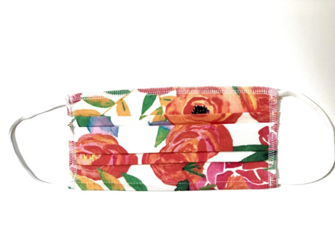 Adult Face Mask Orange Floral  by Brooke Wright