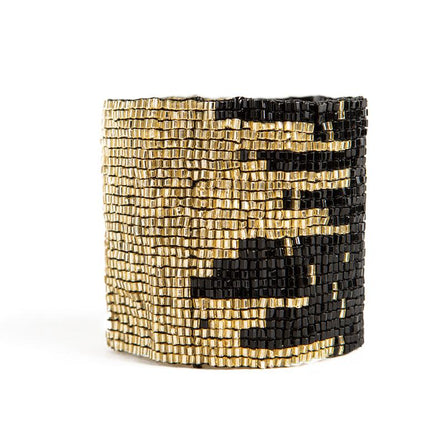 Black and Gold Beaded Stretch Bracelet