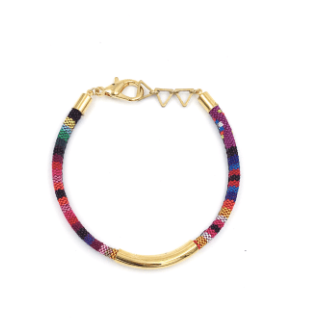 Purple Stripe Tribal Cord Bracelet