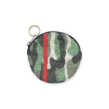Green Camo Red Stripe Round Coin Purse Zip