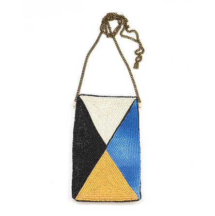 Blue/yellow/white Beaded Crossbody