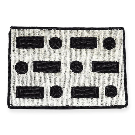 "Black & White SOS Seed Bead Clutch 9"" x 6"""