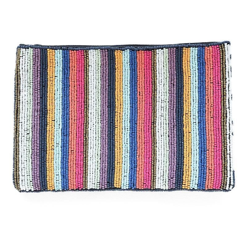 "Multi Stripe Seed Bead Clutch 9"" x 6"""