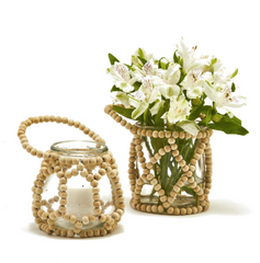 Wood Beaded Candle Holder/ Vase each