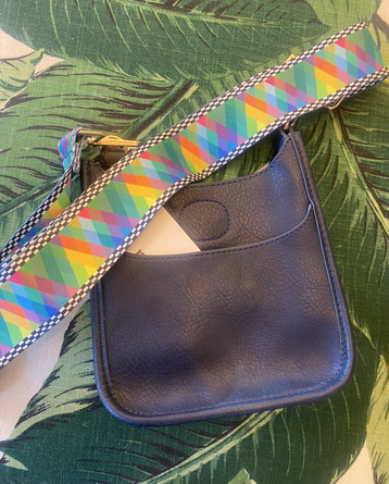 Petite Black Messenger Bag w/ Kaleidoscope Strap