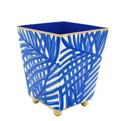 "Blue 4"" Palm Frond Cachepot"