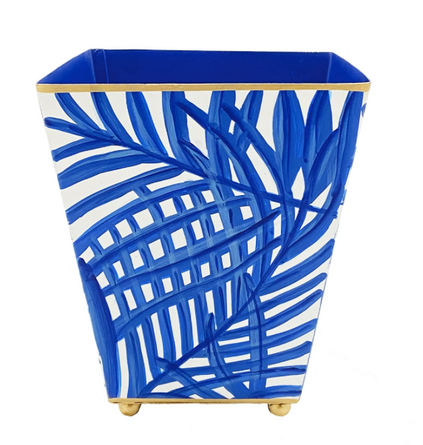 "Blue 6"" Palm Frond Cachepot"