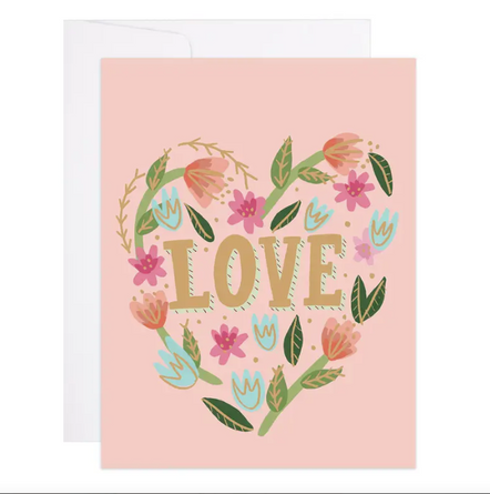 Floral Love Heart Greeting Card