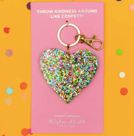 Heart Confetti Key Chain