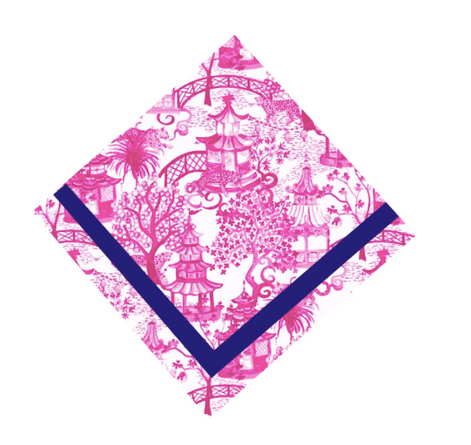 Pink Garden Party Napkin w/ Navy Trim (sold individually)