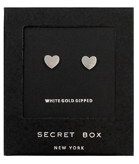 Heart White Gold Dipped Studs