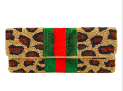 Beaded Green Red Leopard Clutch