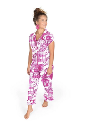 Danika Herrick Pink Garden Party Capri PJ Set SATEEN