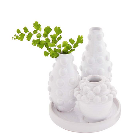 Beaded Bud Vase w/ Tray