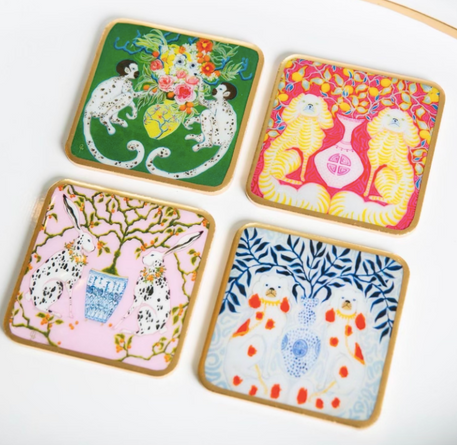PRESELL: Paige Gemmel Chinoiserie Coasters Set/ 4