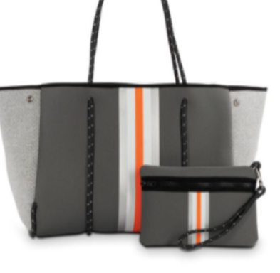 Greyson Hip Steel Gray W/ Orange Stripe Tote