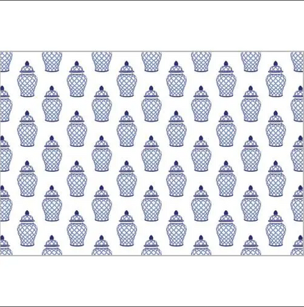 Blue Ginger Jar Paper Placemats S/25