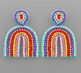 Multi Color Arch Beaded Earrings