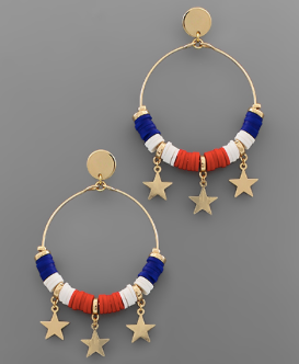 Patriotic Star Hoop Earrings