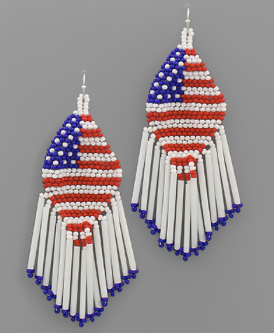 USA Patriotic Flag Fringe Beaded Earrings