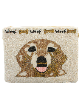 Doggy Woof Beaded Clutch