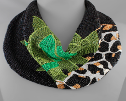 Leopard and Leaf Beaded Scarf