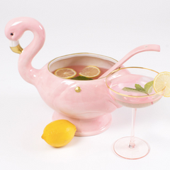 Pink Flamingo Petite Punch Bowl with Spoon