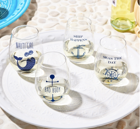 Nautical Ship Wrecked S/2 Wine Glasses
