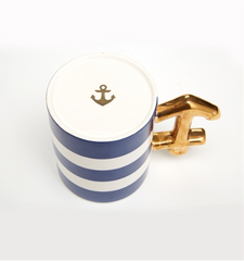 Golden Anchor Stripe Mug