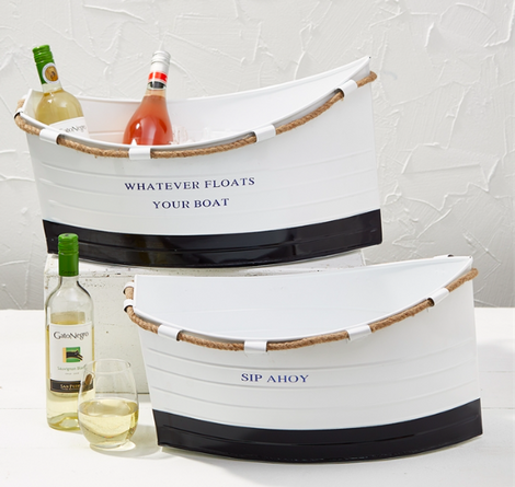 Set of 2 White Boat Buckets