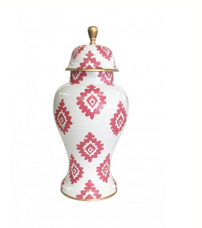 Medium Block Print Ginger Jar Pink