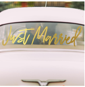 Just Married Window Cling