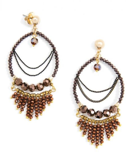 Handmade Beaded Drop Earrings With Fringe