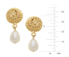 Gold Rope & Pearl 1334C Clip Earrings