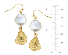 Gold Oyster Shell Pearl Drop 1966W Earrings