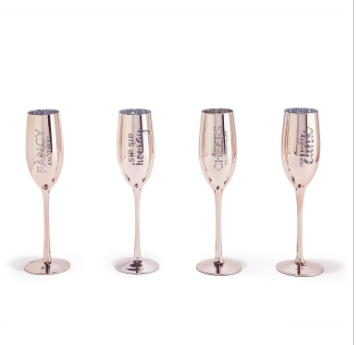 S/2 Metallic Champagne Glasses Gift Set