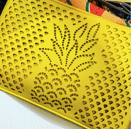 Pineapple Laser Cut Yellow Clutch
