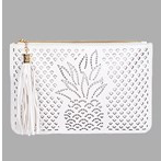 Pineapple Laser Cut White Clutch